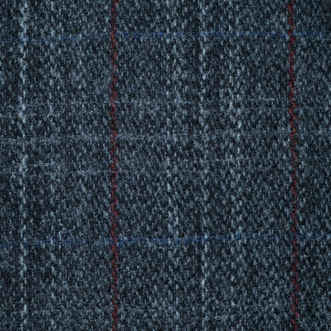 Dark Grey with Light Grey, Blue and Red Check Harris Tweed