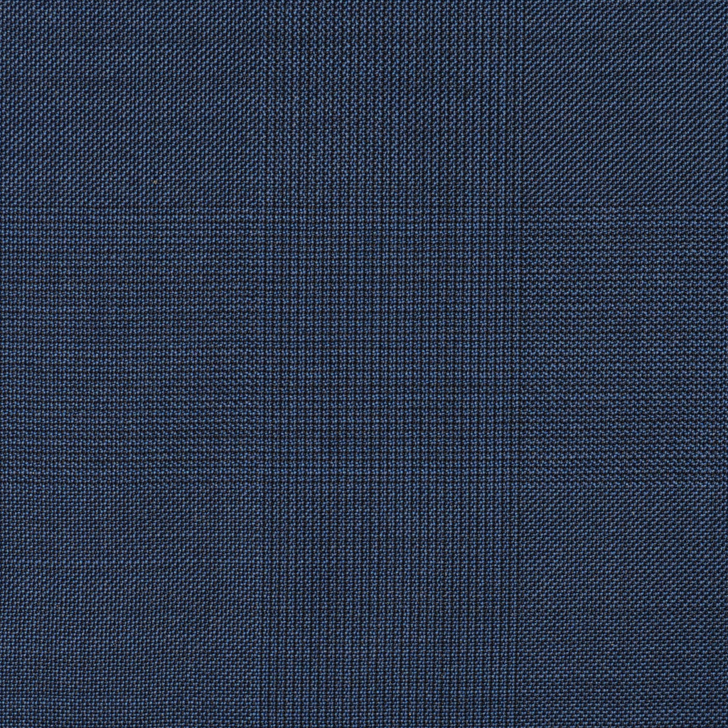 Bright Navy Blue Glen Check Super 110's Italian Wool