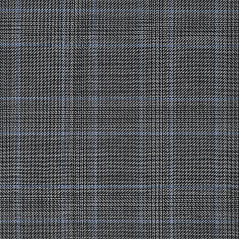 Light Grey with Blue Plaid Check Super 110's Italian Wool