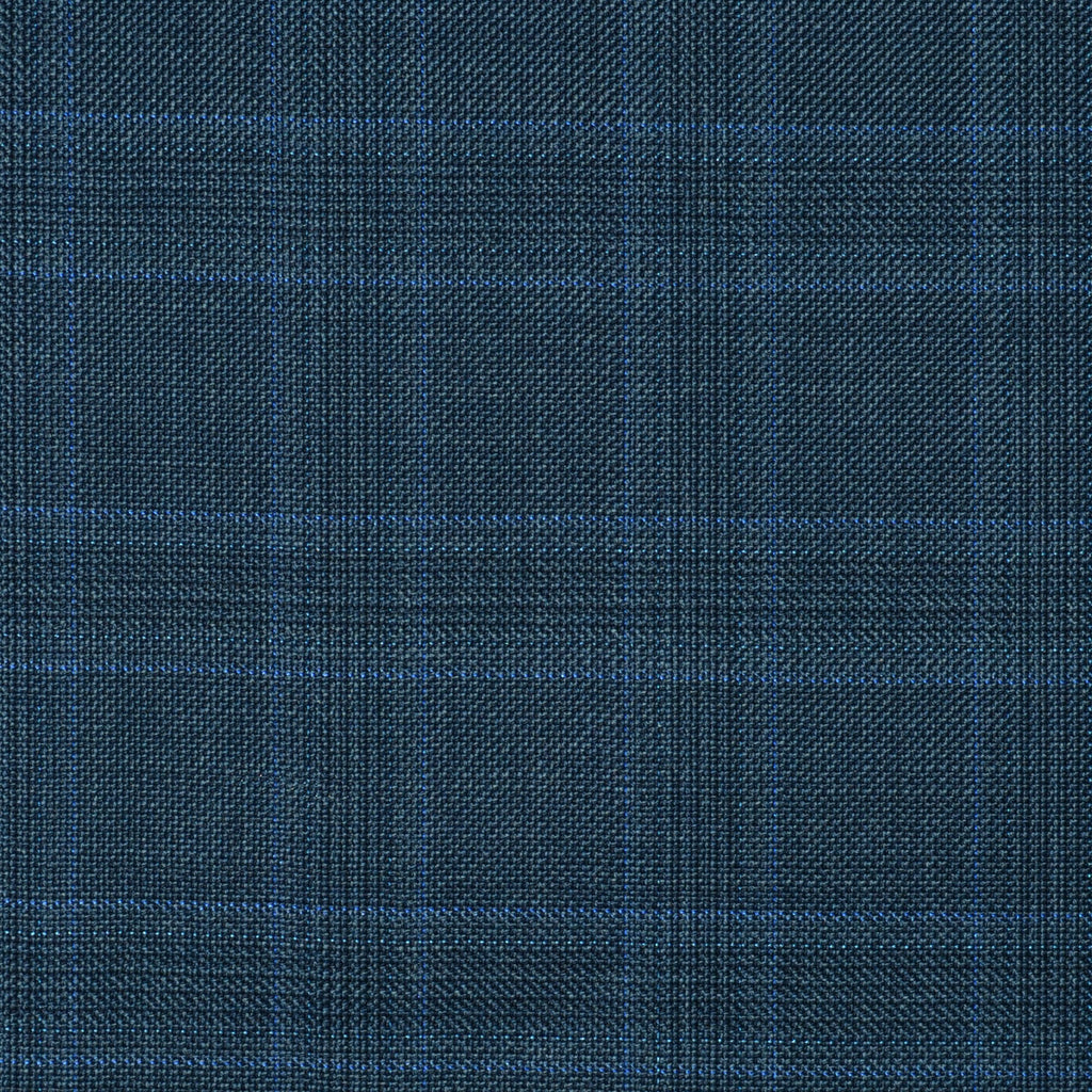 Medium Blue with Navy Blue Plaid Check Super 110's Italian Wool