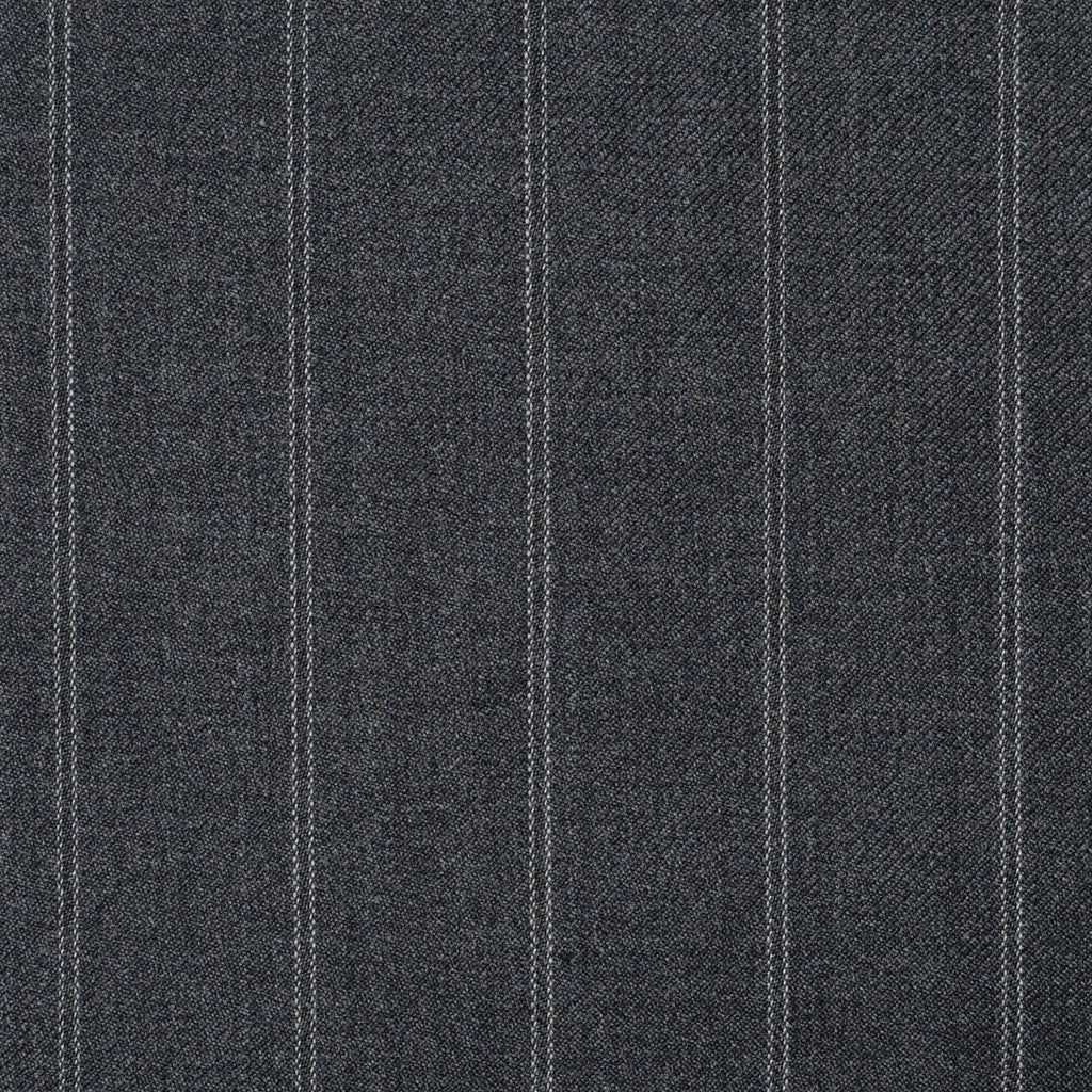 Medium Grey Twin Stripe Super 110's Italian Wool