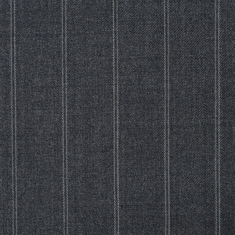 Medium Grey Twin Stripe Check Super 110's Italian Wool