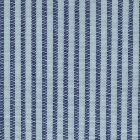 Denim Blue and White Cotton Seersucker Jacketing