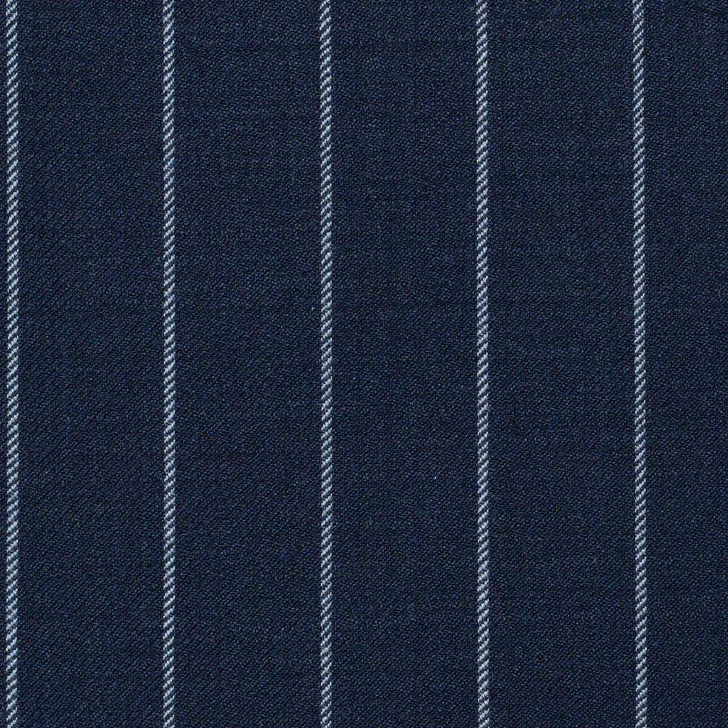 Navy Blue Rope Stripe Super 120's All Wool Suiting