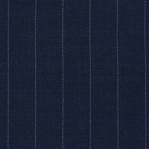 Navy Blue Pinstripe Super 120's All Wool Suiting