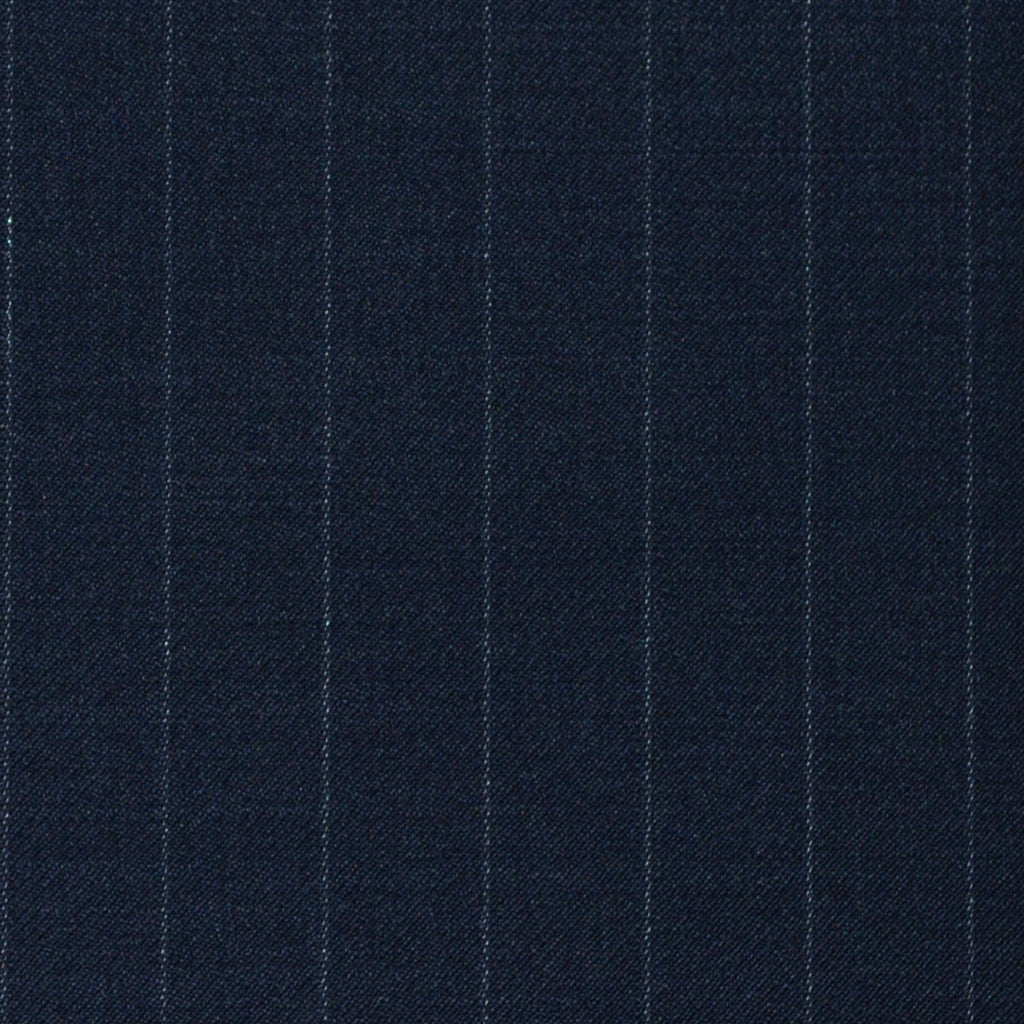 Navy Blue Chalkstripe Super 120's All Wool Suiting