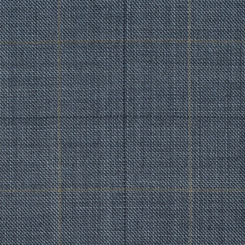Grey with Fawn Multi Check Super 120's All Wool Suiting
