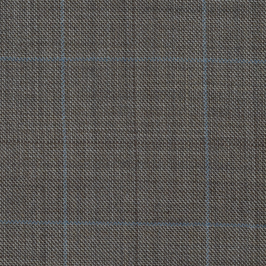 Sand with Blue & Brown Multi Check Super 120's All Wool Suiting