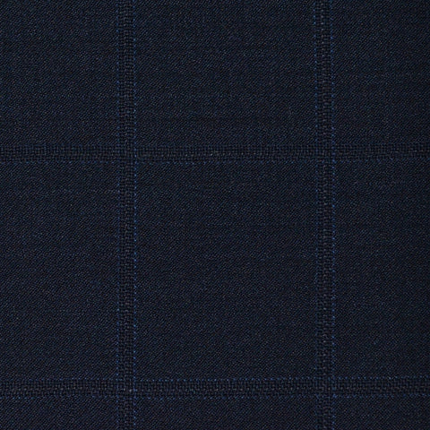 Bright Navy Windowpane Check Super 120's All Wool Suiting
