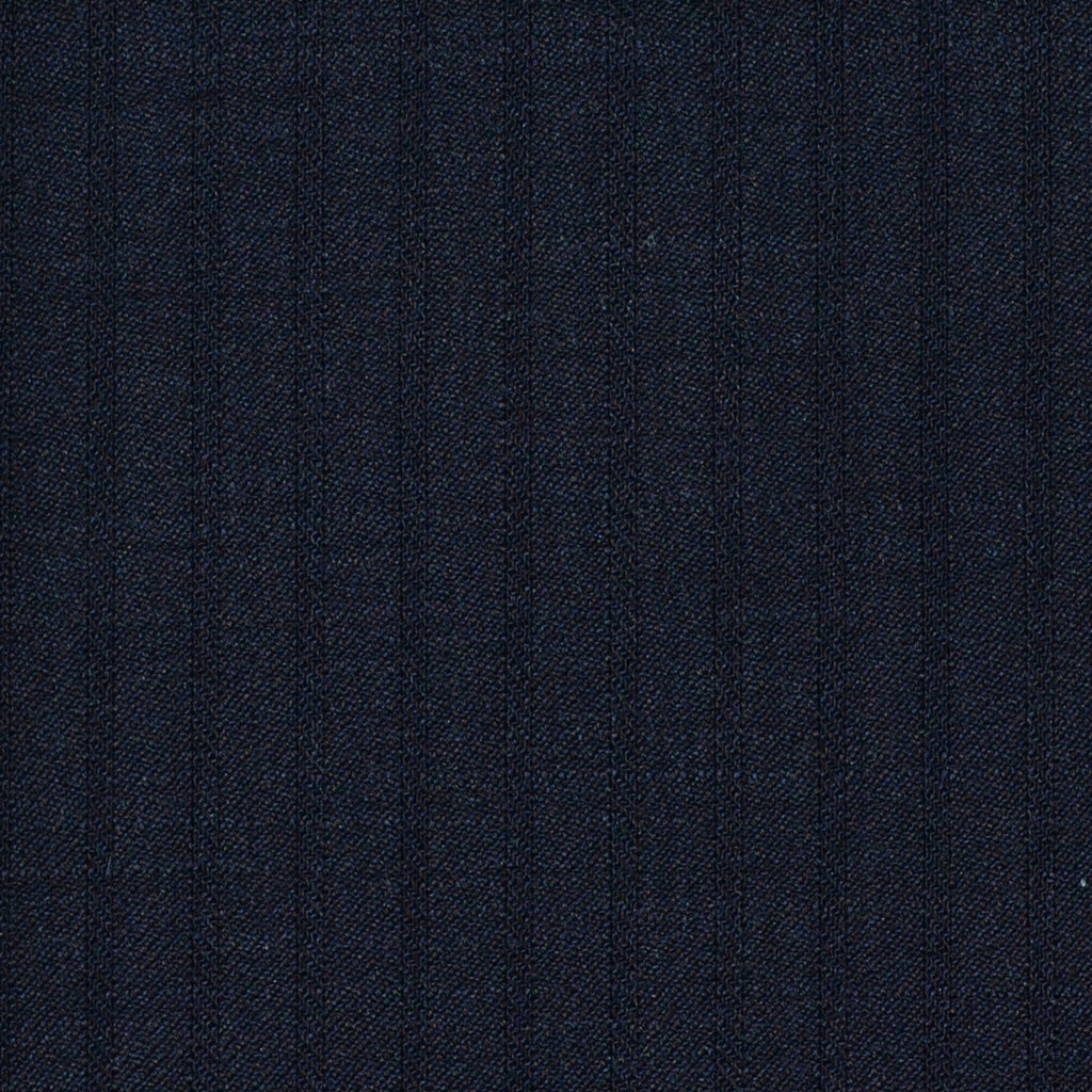 Bright Navy Herringbone Shadow Stripe Super 120's All Wool Suiting