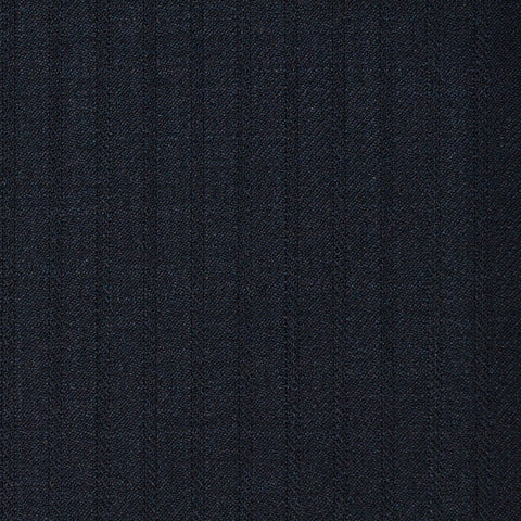 Dark Navy Herringbone Shadow Stripe Super 120's All Wool Suiting