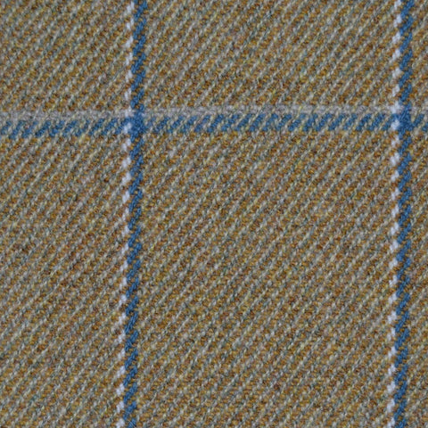 Sand with Blue & White Check Tweed