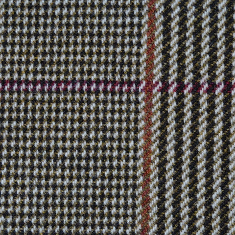 Brown & Cream with Red & Orange Check Tweed