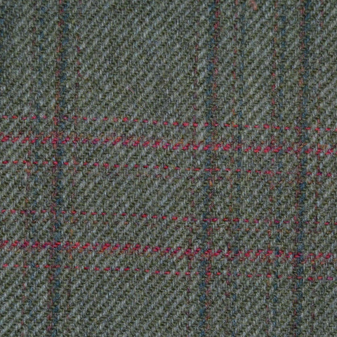 Green with Dark Green, Brown & Red Check Tweed