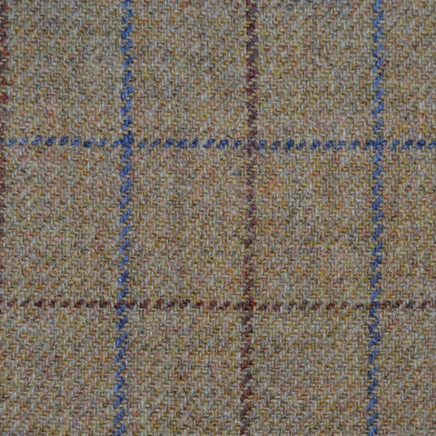 Sand with Blue & Brown Check Tweed