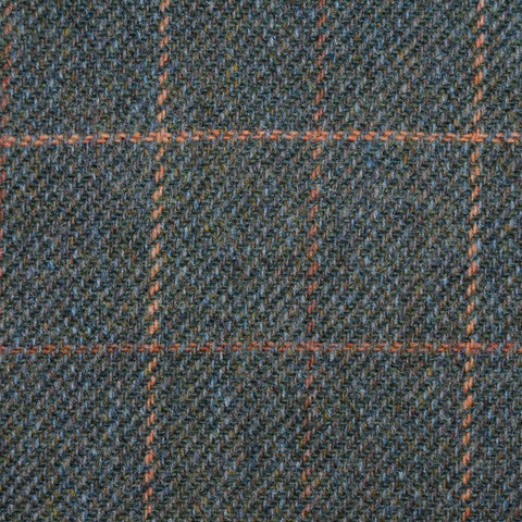 Dark Green with Orange Check Tweed