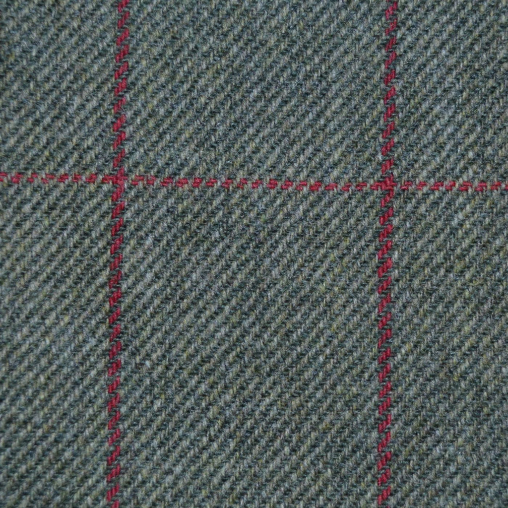Green with Red Check Tweed