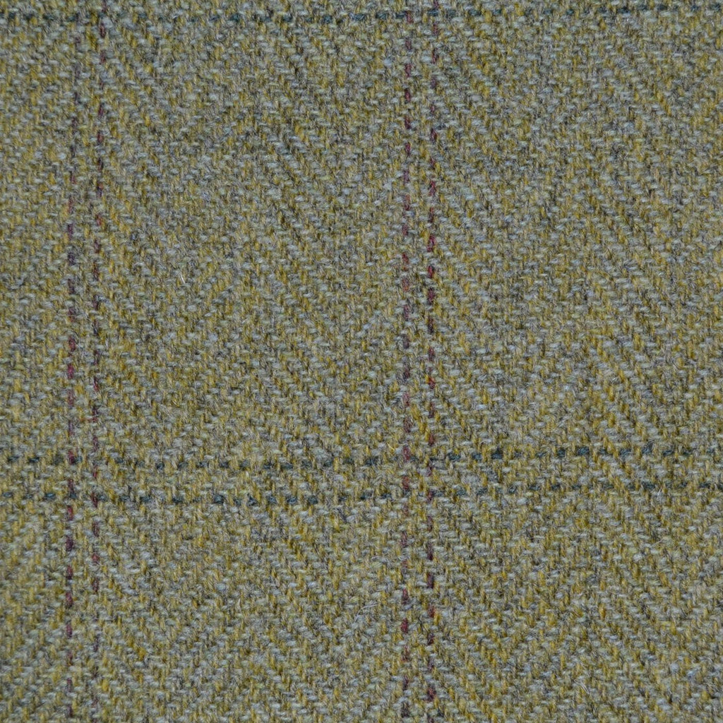 Green Herringbone with Green & Brown Twin Check Tweed