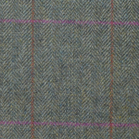 Moss Green Herringbone with Pink and Orange Check Lambswool & Cashmere Jacketing