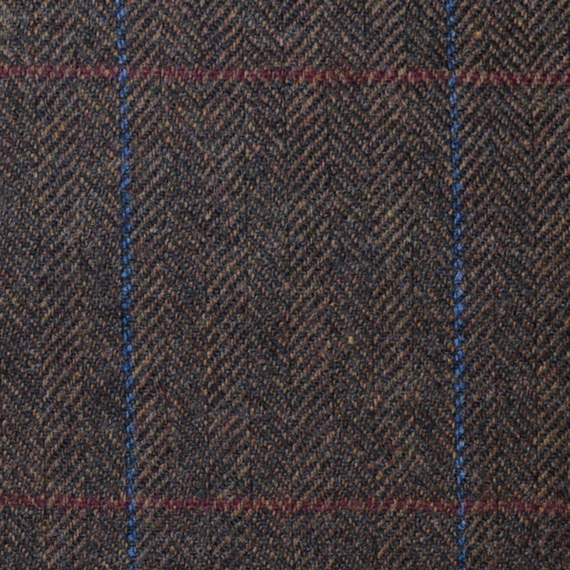 Brown Herringbone with Blue and Red Check Lambswool & Cashmere Jacketing