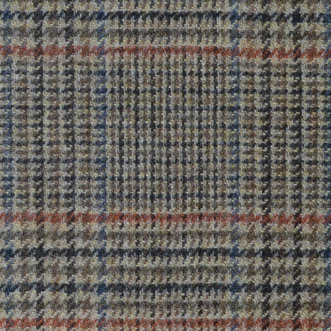 Beige and Brown with Moss Green, Orange and Blue Dogtooth Check Lambswool & Cashmere Jacketing