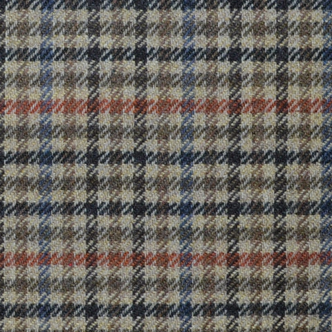 Beige with Brown, Orange and Blue Check Lambswool & Cashmere Jacketing
