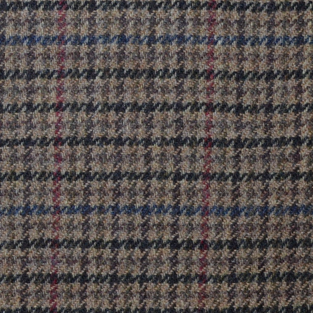 Brown with Beige, Blue and Red Dogtooth Check Lambswool & Cashmere Jacketing
