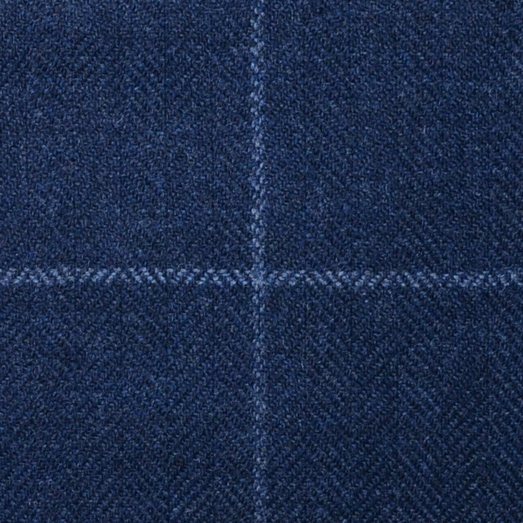 Navy Blue Herringbone with Silver Grey Check Lambswool & Cashmere Jacketing