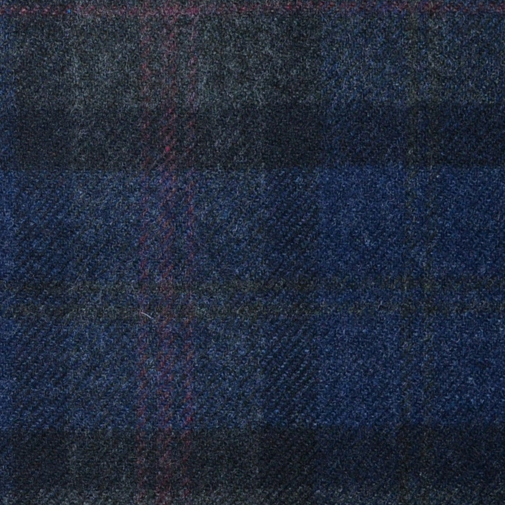 Blue and Grey with Red Plaid Check Lambswool & Cashmere Jacketing