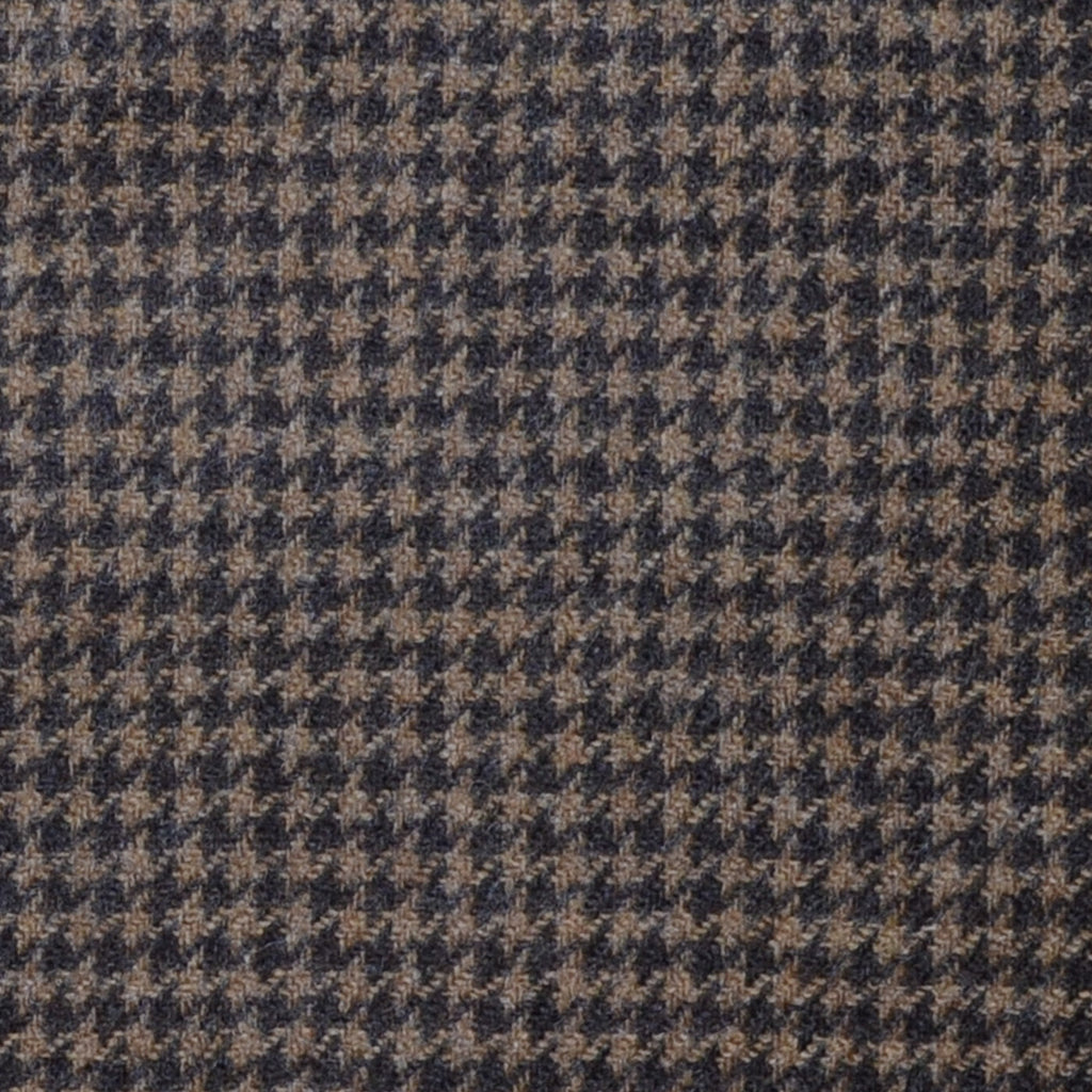 Medium Brown and Dark Brown Dogtooth Check Lambswool & Cashmere Jacketing