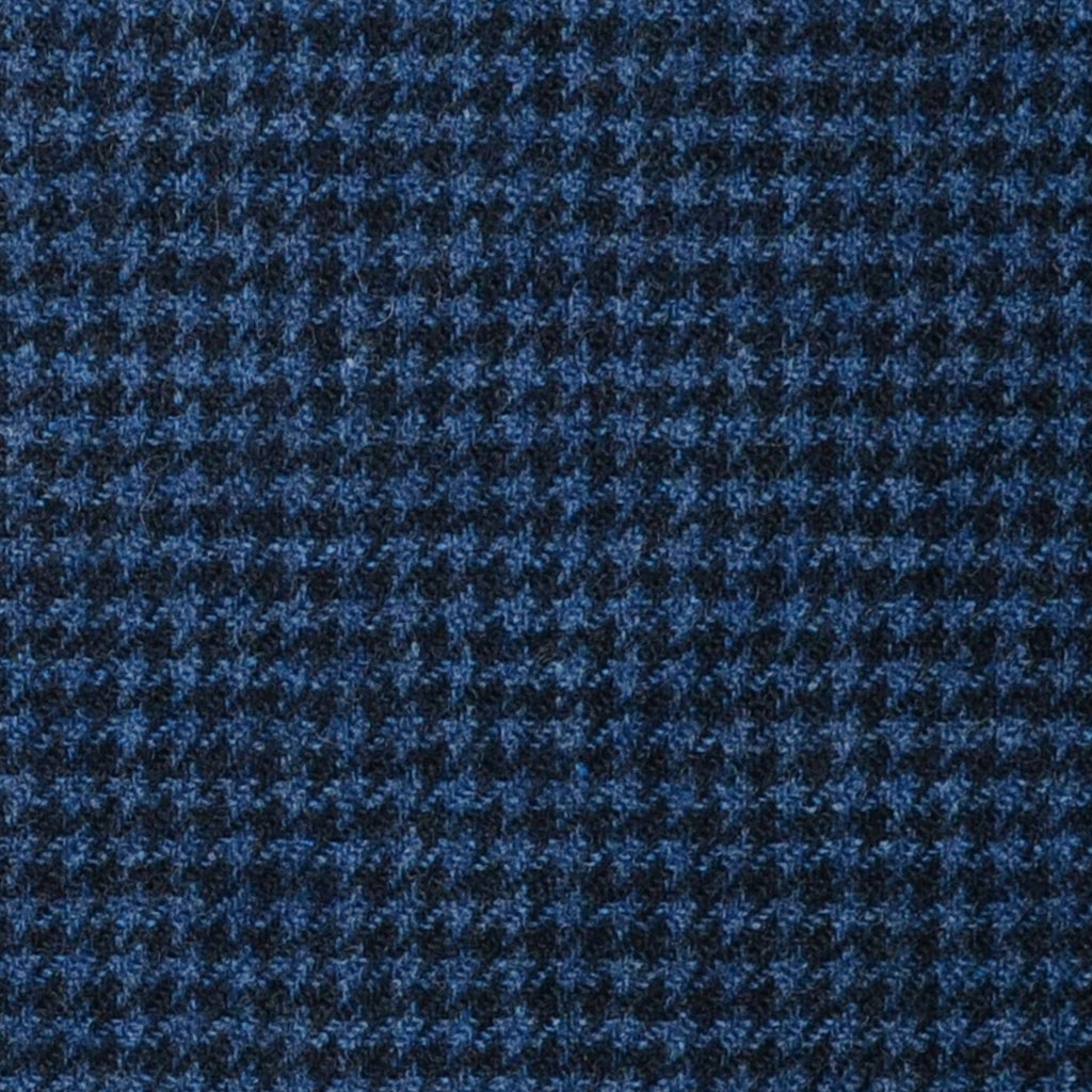 Medium Blue and Navy Blue Dogtooth Check Lambswool & Cashmere Jacketing