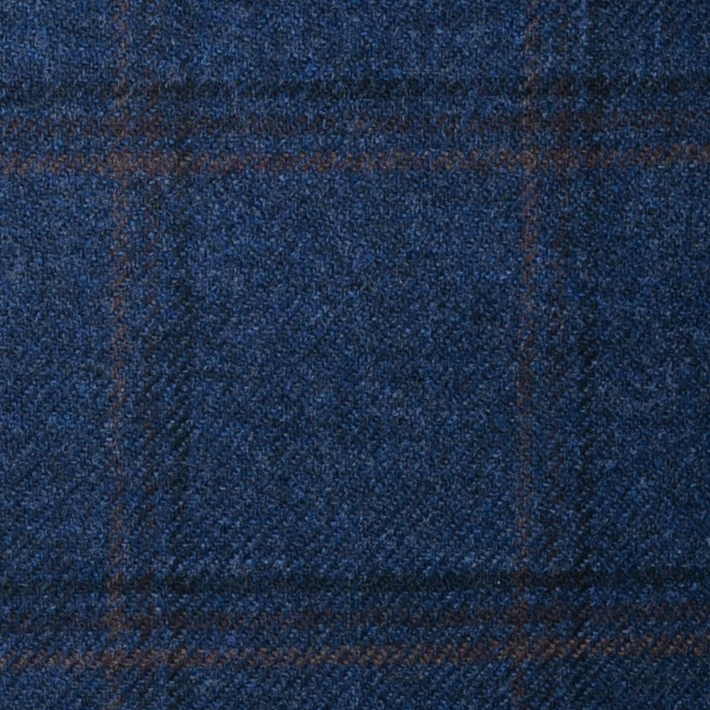 Medium Blue with Navy Blue, Orange and Brown Check Lambswool & Cashmere Jacketing