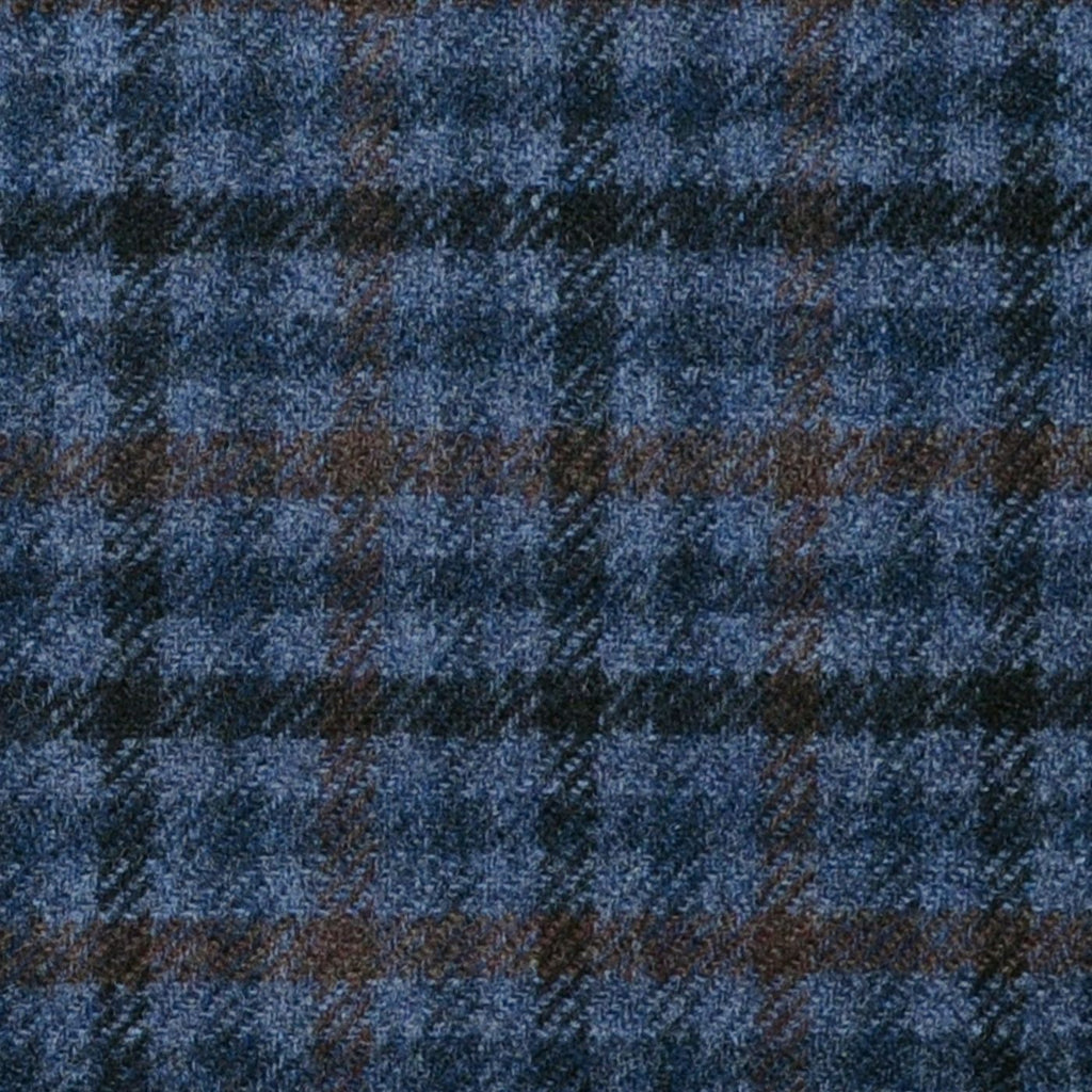Medium Grey with Blue, Navy Blue and Brown Check Lambswool & Cashmere Jacketing