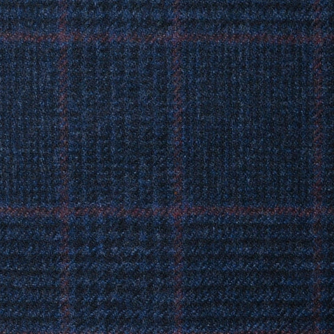 Navy Blue Prince of Wales with Red Check Lambswool & Cashmere Jacketing