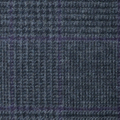 Medium Grey Prince of Wales with Purple Check Lambswool & Cashmere Jacketing