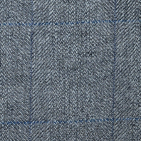 Light Grey Herringbone with Lilac and Blue Check Lambswool & Cashmere Jacketing