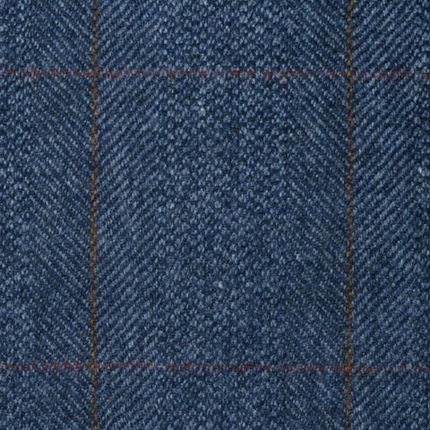 Denim Blue Herringbone with Orange and Brown Check Lambswool & Cashmere Jacketing