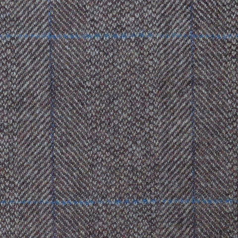 Light Brown Herringbone with Lilac and Blue Check Lambswool & Cashmere Jacketing