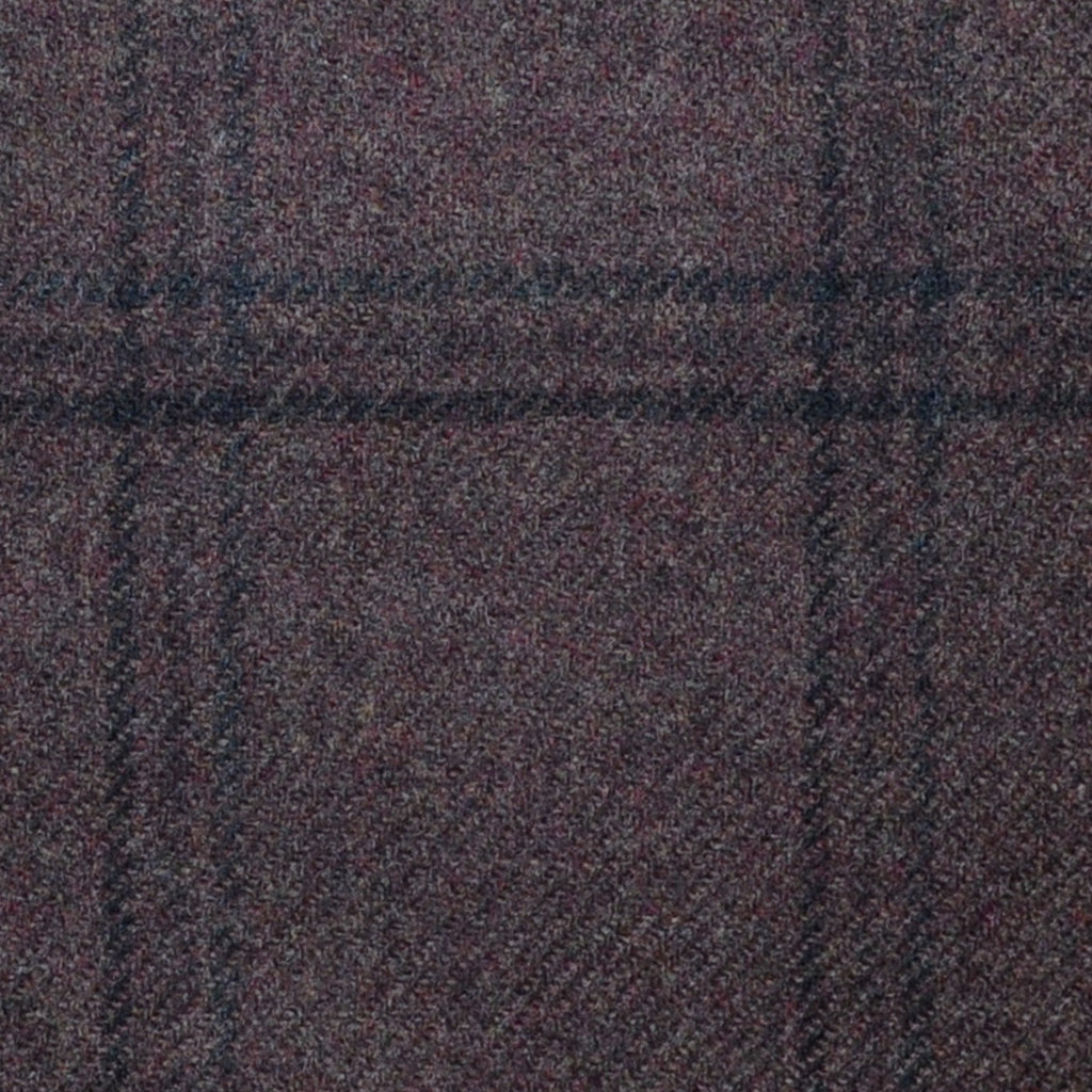 Medium Brown with Grey and Dark Brown Check Lambswool & Cashmere Jacketing