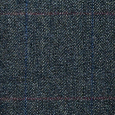 Forest Green Herringbone with Red and Blue Check Lambswool & Cashmere Jacketing