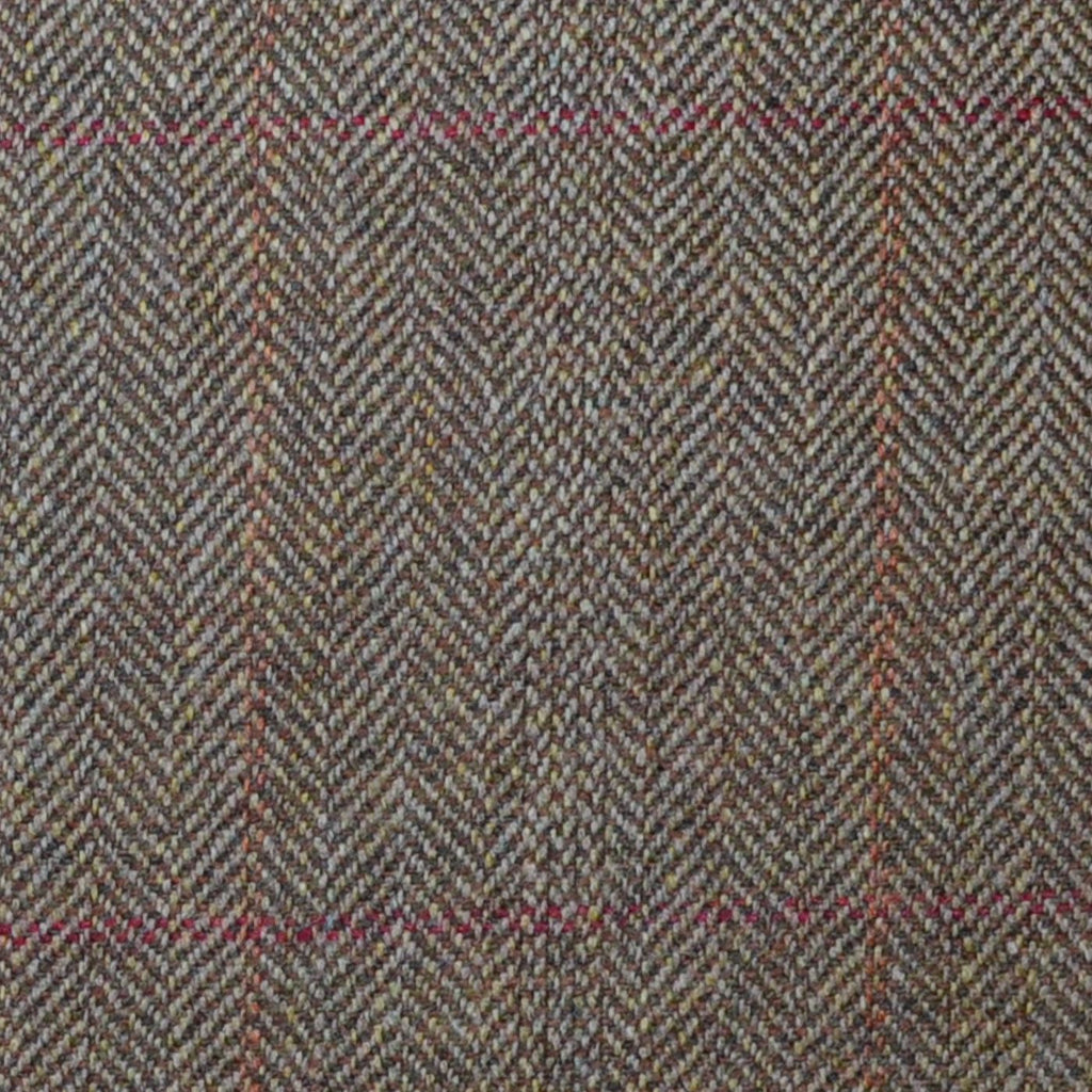 Brown Herringbone with Red and Orange Check Lambswool & Cashmere Jacketing