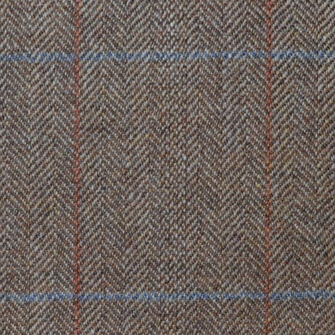 Light Brown Herringbone with Orange and Blue Check Lambswool & Cashmere Jacketing