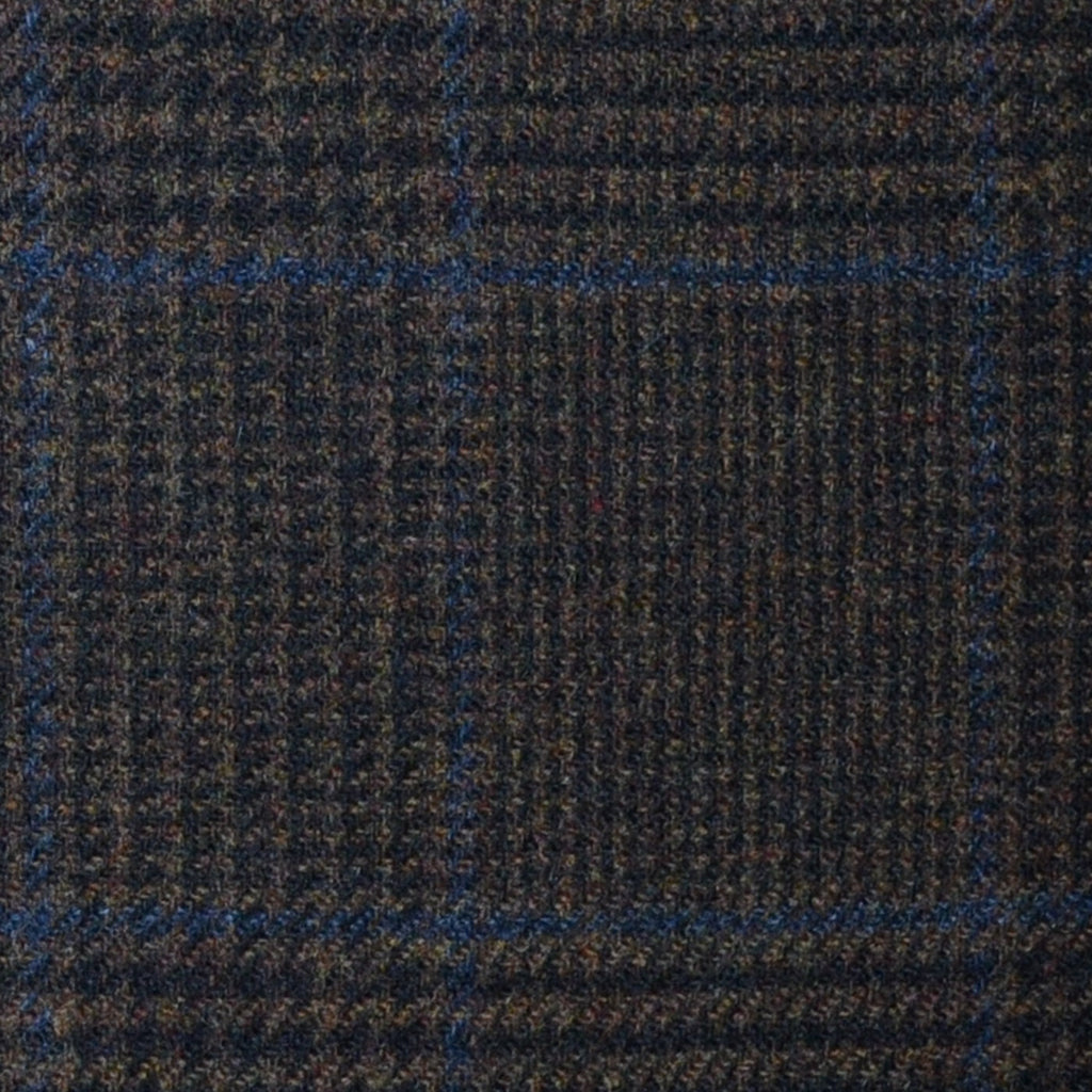 Dark Brown Prince of Wales with Blue Check Lambswool & Cashmere Jacketing