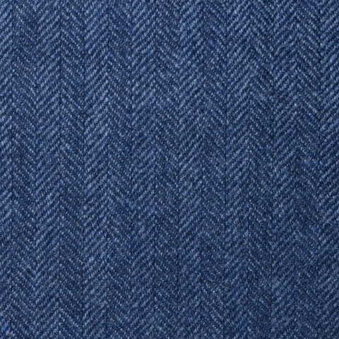 Medium Blue Herringbone Lambswool & Cashmere Jacketing