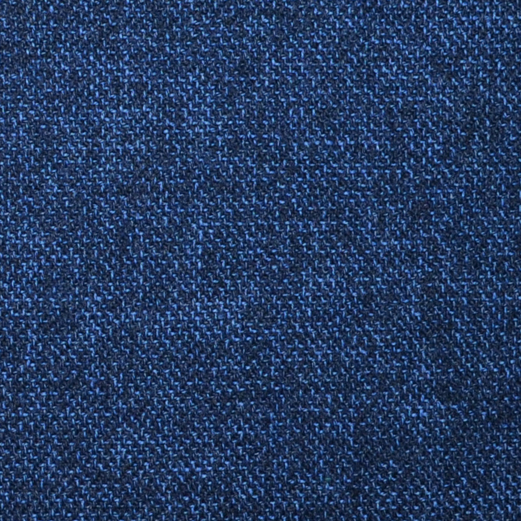 Medium Blue and Navy Blue Pick Weave Lambswool & Cashmere Jacketing