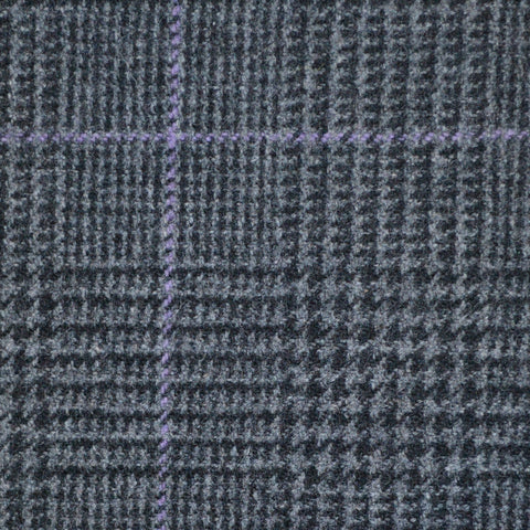 Dark Grey with Lilac Check Prince of Wales Flannel Suiting