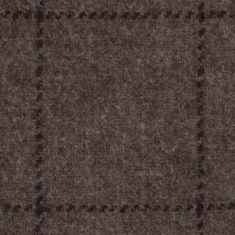 Medium Brown with Dark Brown Check Natural Undyed Tweed