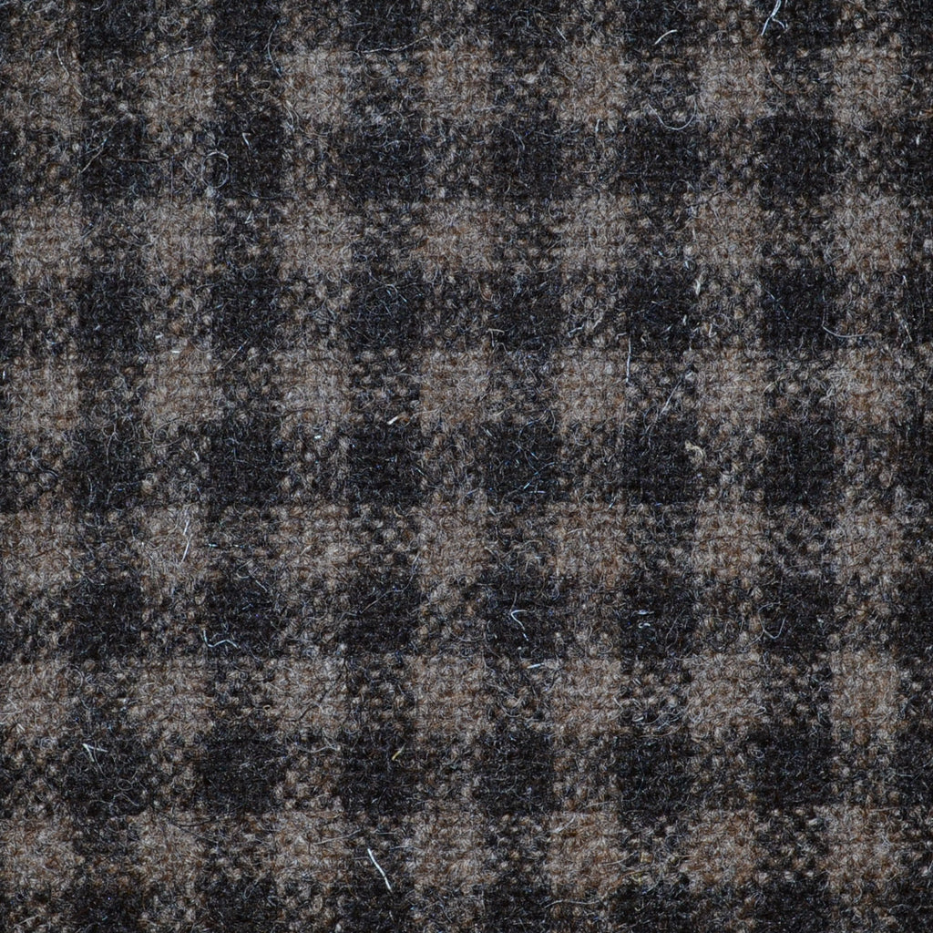 Dark Brown & Brown Box Check Natural Undyed Tweed