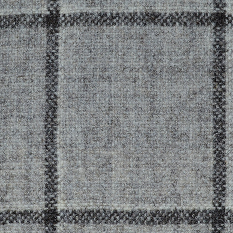 Beige/Grey with Dark Brown Window Check Natural Undyed Tweed