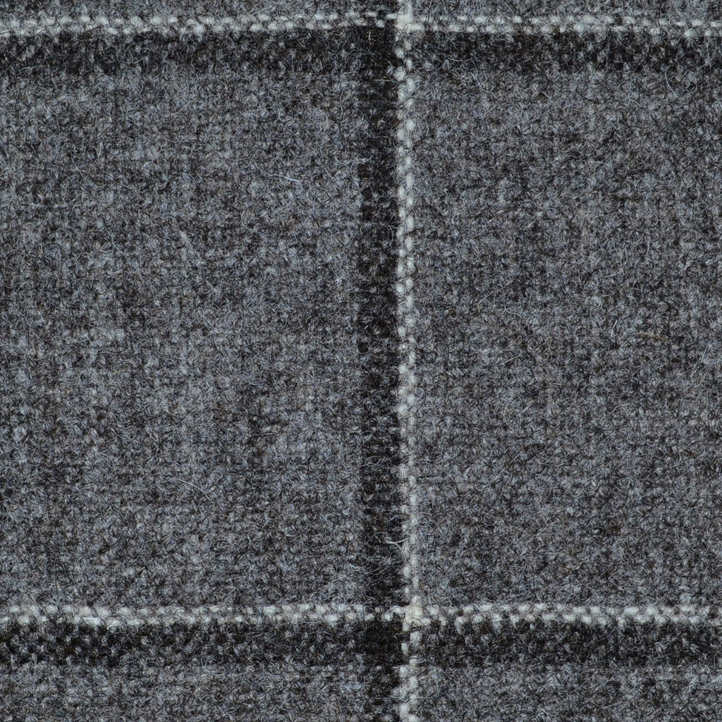 Grey/Brown with Dark Brown Window Check Natural Undyed Tweed